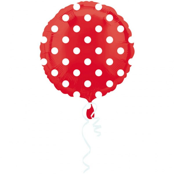 Apple Red Dots Circle 18 inch Foil Balloon (1 unit)