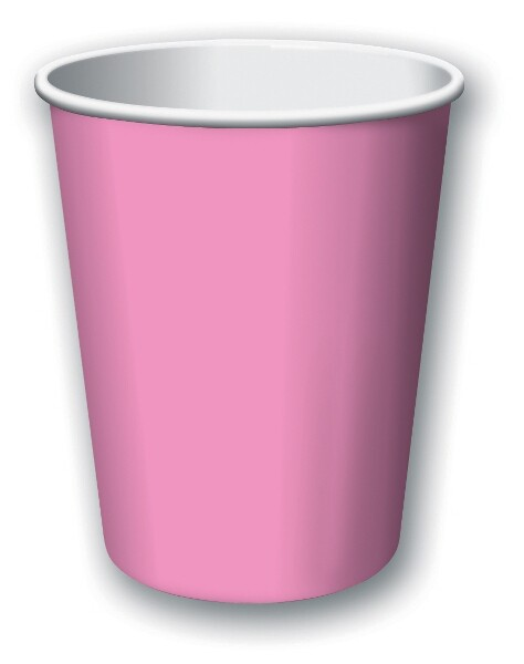 Plain Candy Pink Paper Cups (8 units)
