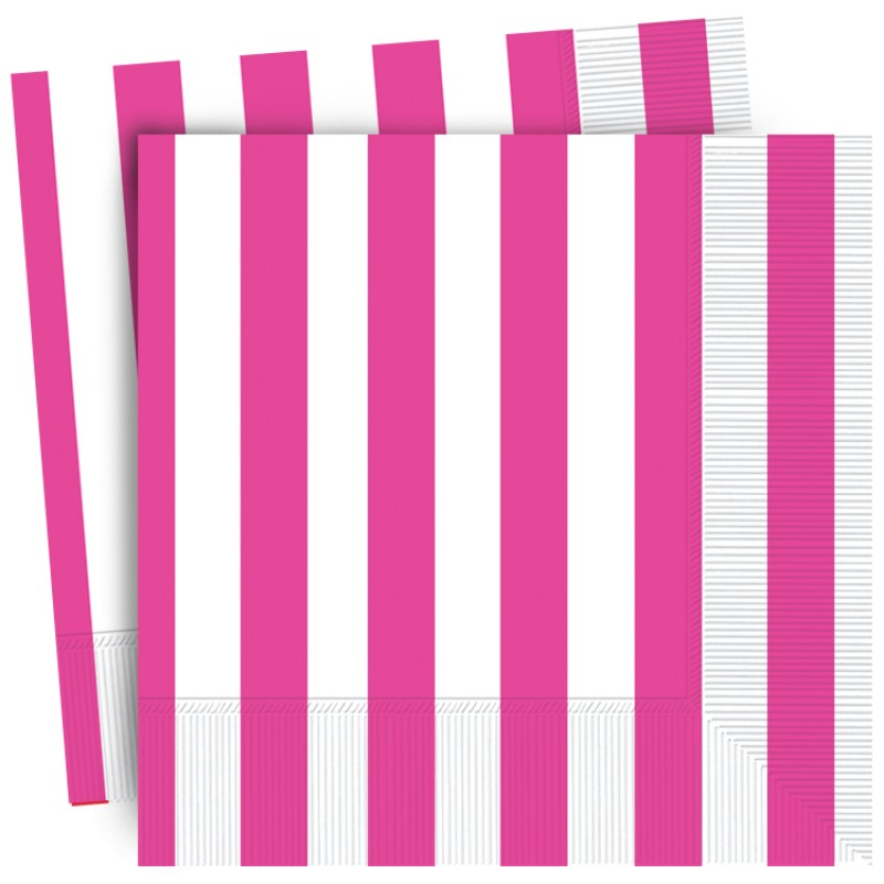Pink Stripe Lunch Napkins (16)