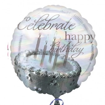18 Inch Holographic Celebrate Cake Foil Balloon (1)