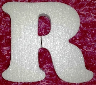 R  Polystyrene Letter 20cm high x 30mm thick Plain White (1)