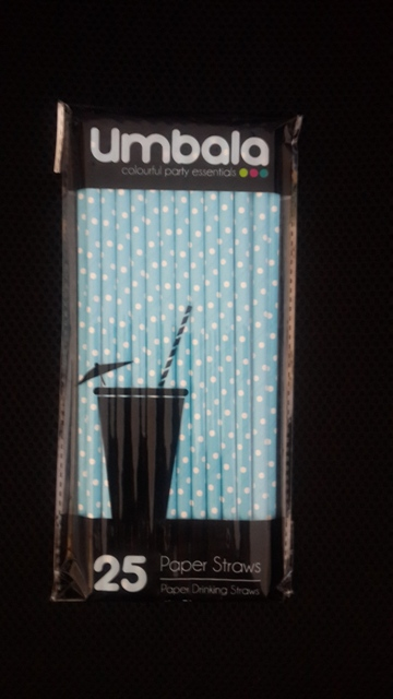 Umbala Polka Light Blue Paper Straws (25)