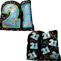 Holographic Brilliant Birthday 21 (66cm x 68cm)