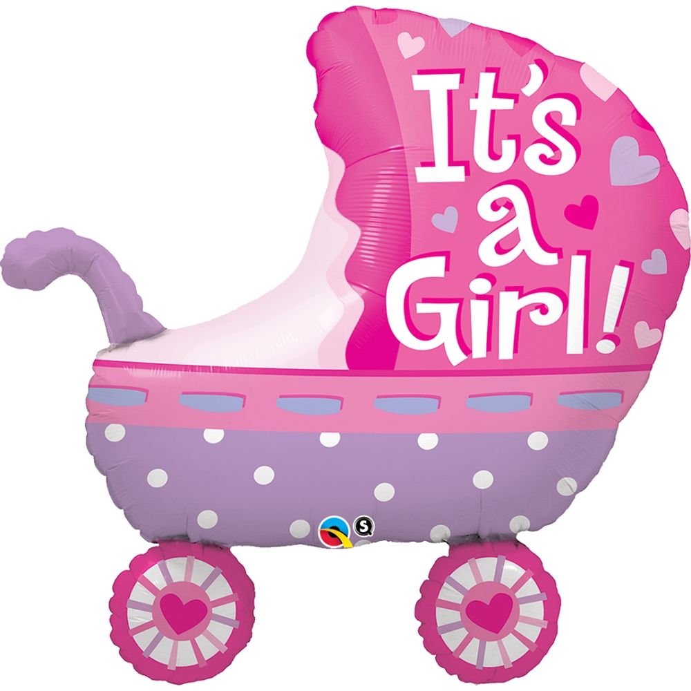 It's a Girl Shaped Stroller Foil Balloon (89 cm)