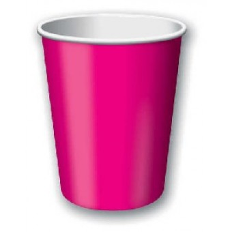 Plain Hot Pink Paper Cups (8 units)