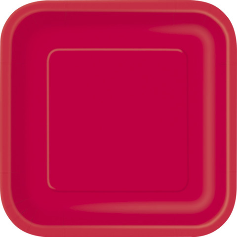 Ruby Red Square Dinner Plate (14)