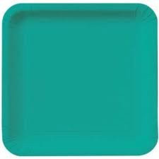 Caribbean Teal Square Dinner Plate (14)