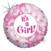 Holographic 18 inch Its a Girl Foil Balloon (1)