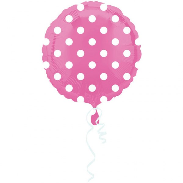 Bright Pink Dots Circle 18 inch Foil Balloon (1 unit)