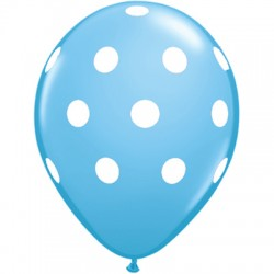 Light Blue Polka Dot 12 inch Latex Balloon (1)