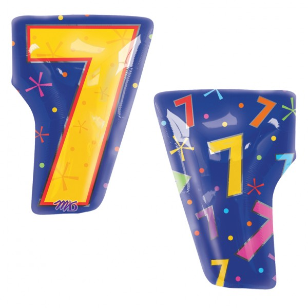 Multi Colour number 7 Junior Shape Foil Balloon (50cm x 35cm) (1)