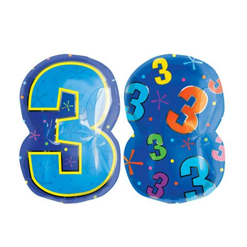Multi Colour number 3 Junior Shape Foil Balloon (50cm x 35cm) (1)
