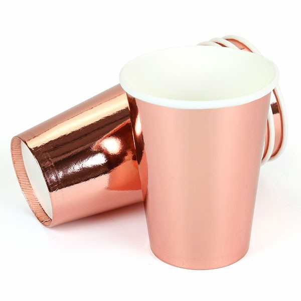 Rose Gold 9oz Paper Cups (10 count)