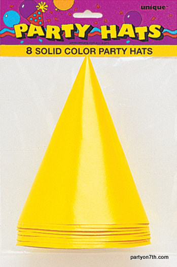 Yellow Party Hats (8)