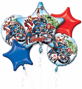 Avengers Balloon Bouquet (4 x 18 inch Balloons + 1 x Super Shape Balloon)