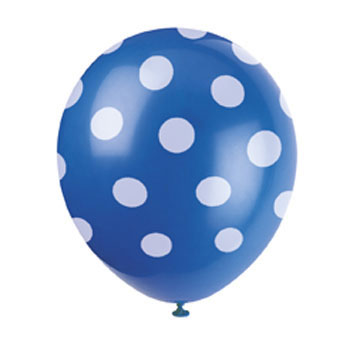 Polka Dot Blue 12 inch Latex Balloon (1)