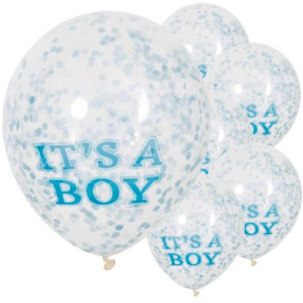 It's a Boy Confetti 12 inch Latex Balloons with Blue (6pcs)