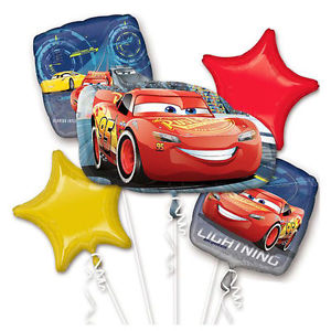 Cars Balloon Boquet (4 x 18 inch Balloons + 1 x Super Shape Balloon)