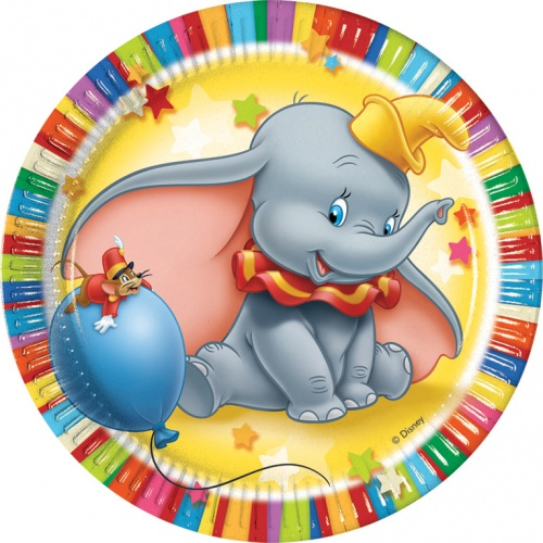Colourful dumbo dinner plates 6 for B day party decoration