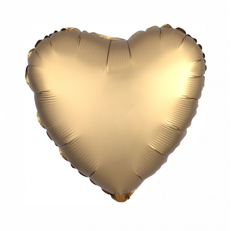 Gold Satin Luxe Heart 18 inch Foil Balloon
