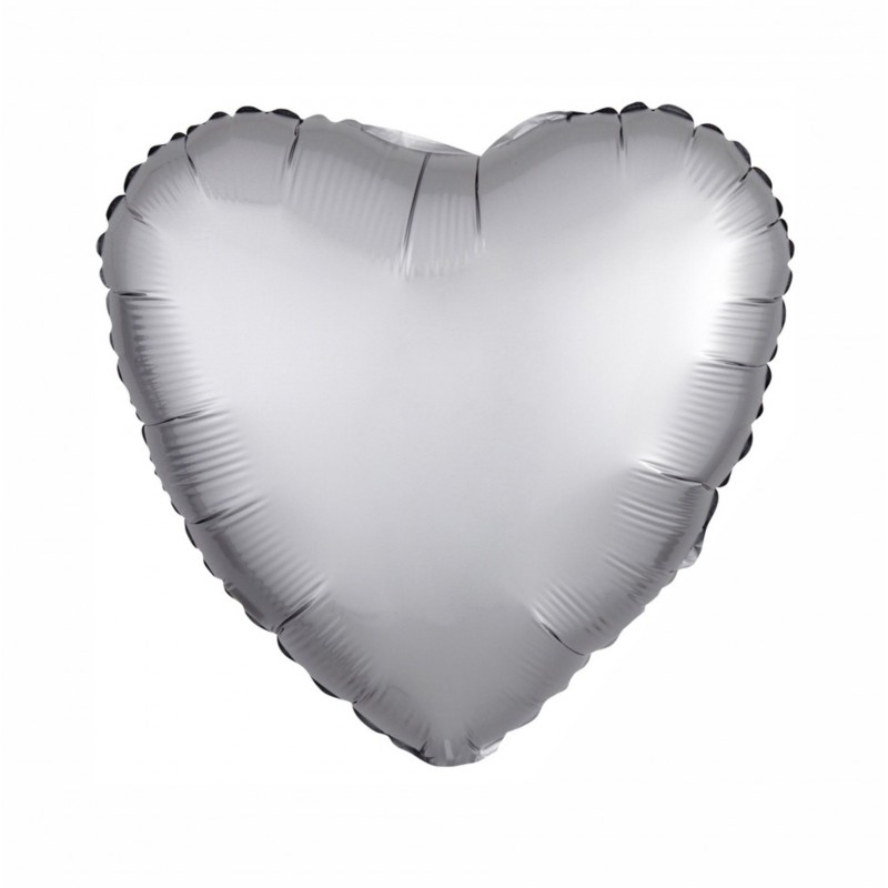 Platinum Satin Luxe Heart 18 inch Foil Balloon