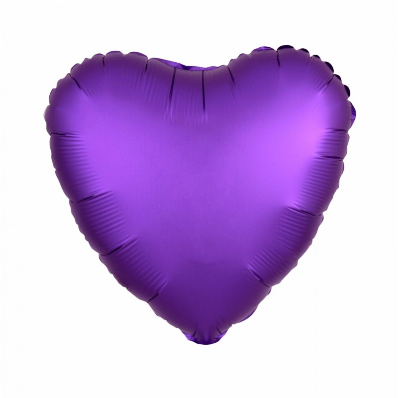 Purple Satin Luxe Heart 18 inch Foil Balloon