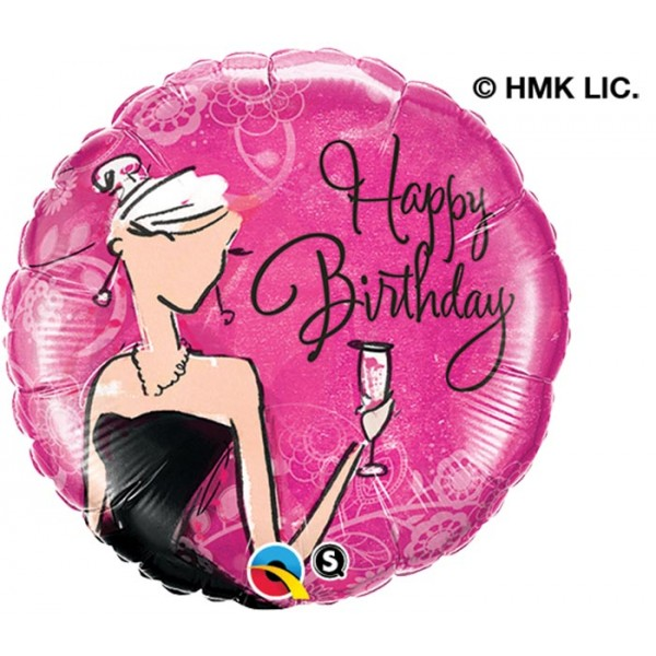 18 inch foil Birthday Black Dress (1ct)
