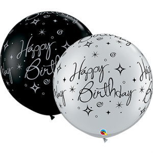 3 foot Giant Silver Sparkles Happy Birthday Latex Balloon (1 count)