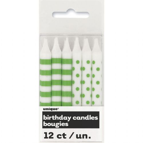 Green Stripe / Dot Candles (12 candles)
