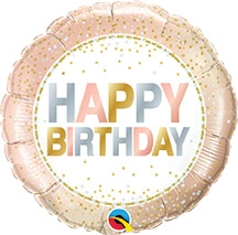 18 inch Foil Birthday Metalic Dots (46cm) (1 count)