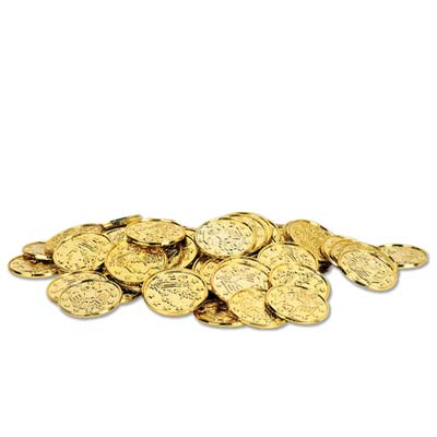 Pirate Plastic Gold Coins Large (50)