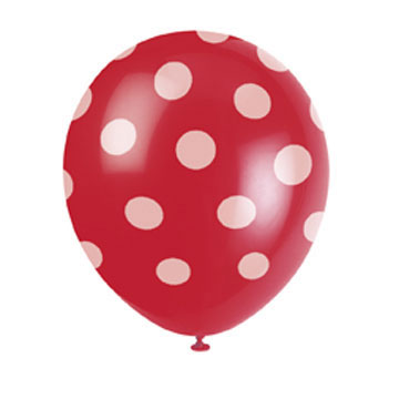 Polka Red 12 inch Latex Balloon (1)