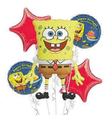 Spongebob Balloon Boquet (4 x 18 inch Balloons + 1 Super Shape Balloon)