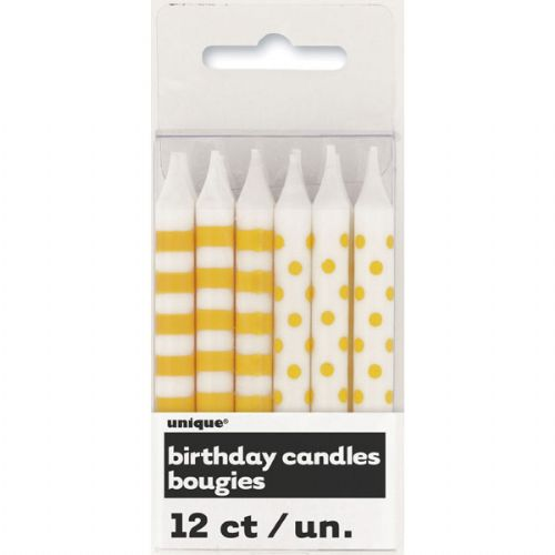 Yellow Stripe / Dot Candles (12 Candles)